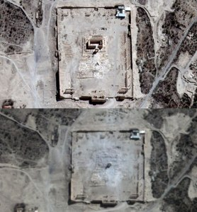 UNITAR-UNOSAT imagery shows the Temple of Bel seen on August 27 (top) and rubble seen at the temple's location on August 31 (below) [AFP]